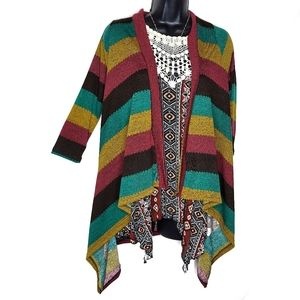 Diosa Half Sleeve Open Front Cardigan Striped - S